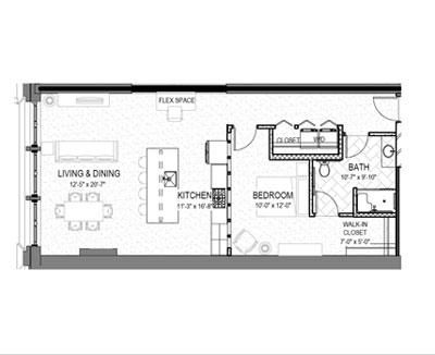 smyth lofts floor plan one bed one bath kaleidoscope design inc graphic design