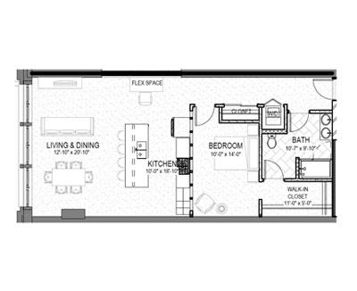 smyth lofts floor plan one bed one bath kalieidoscope design inc graphic designer